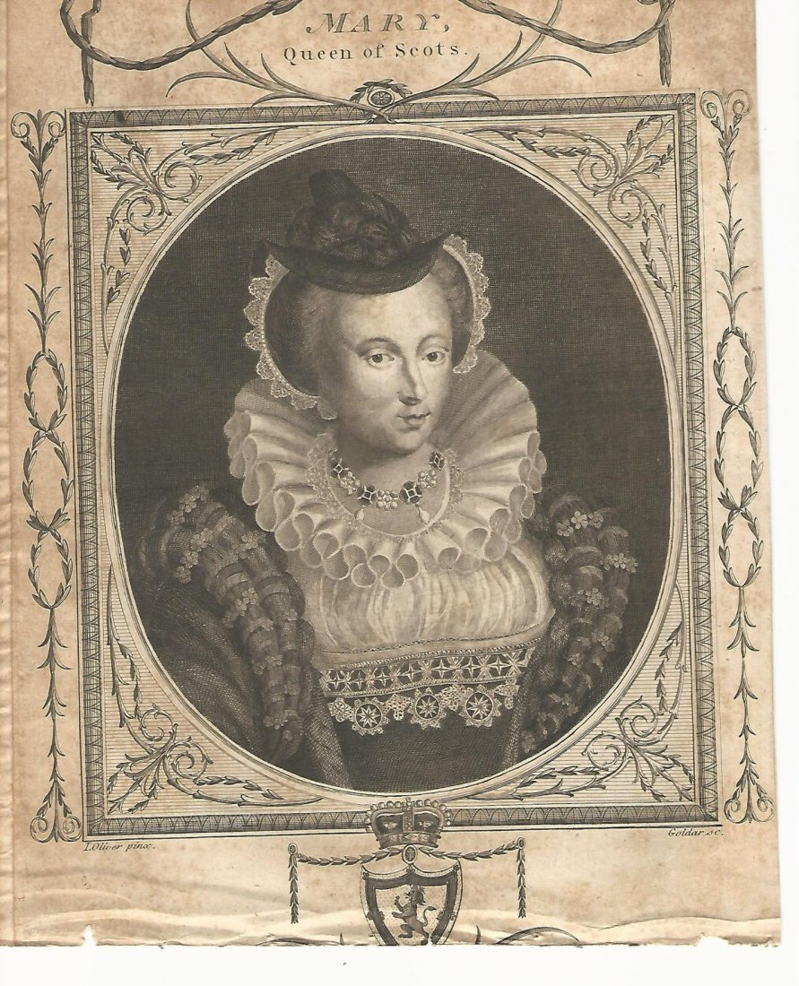 Engraving of Mary Queen of Scots, 1750