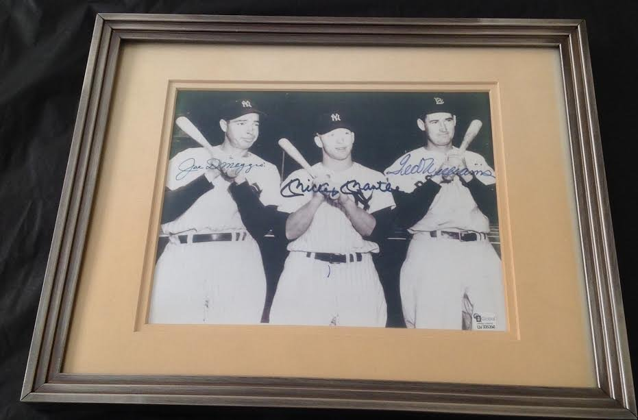 DiMaggio, Mantle & Williams Signed Picture, Certified