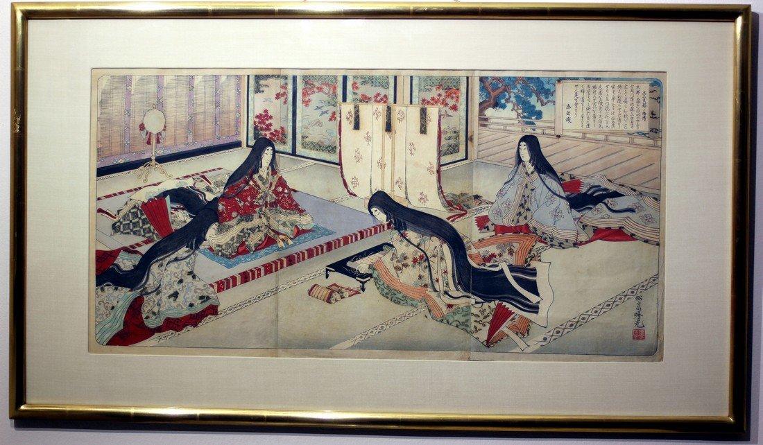 Adachi Ginko: Lady Murasaki Triptych, 1890