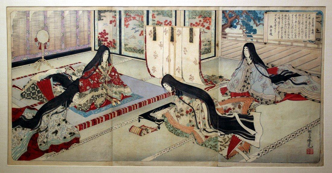 Adachi Ginko: Lady Murasaki Triptych, 1890 - 2