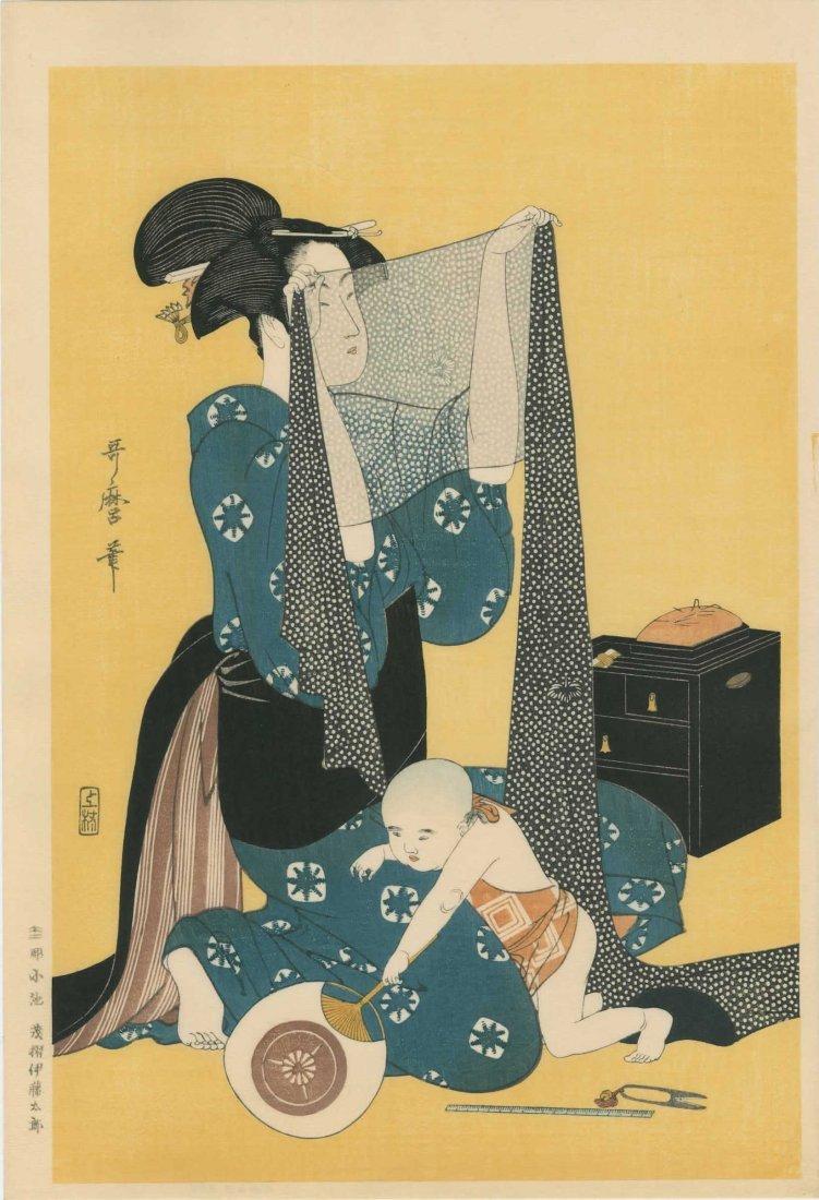 Kitagawa Utamaro: Women Sewing - 2