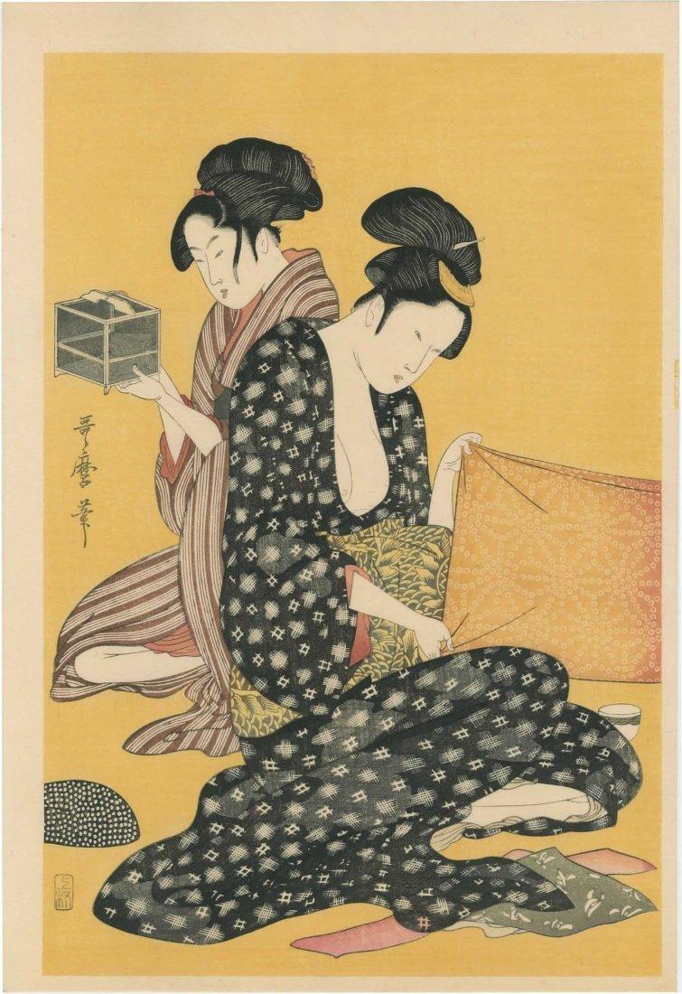Kitagawa Utamaro: Women Sewing - 3