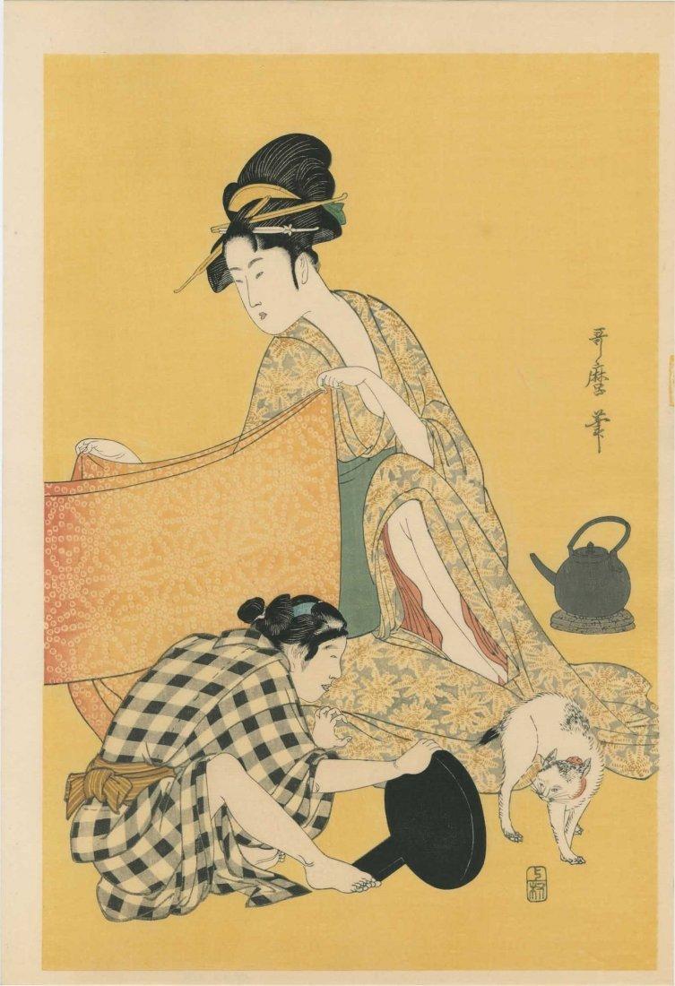 Kitagawa Utamaro: Women Sewing - 4