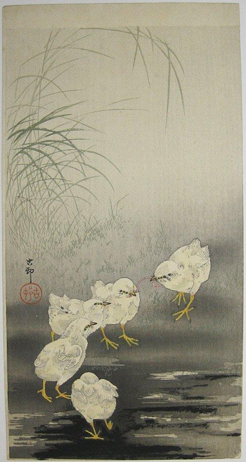 Ohara Koson: 5 Chicks Near Grasses Fighting Over a Worm