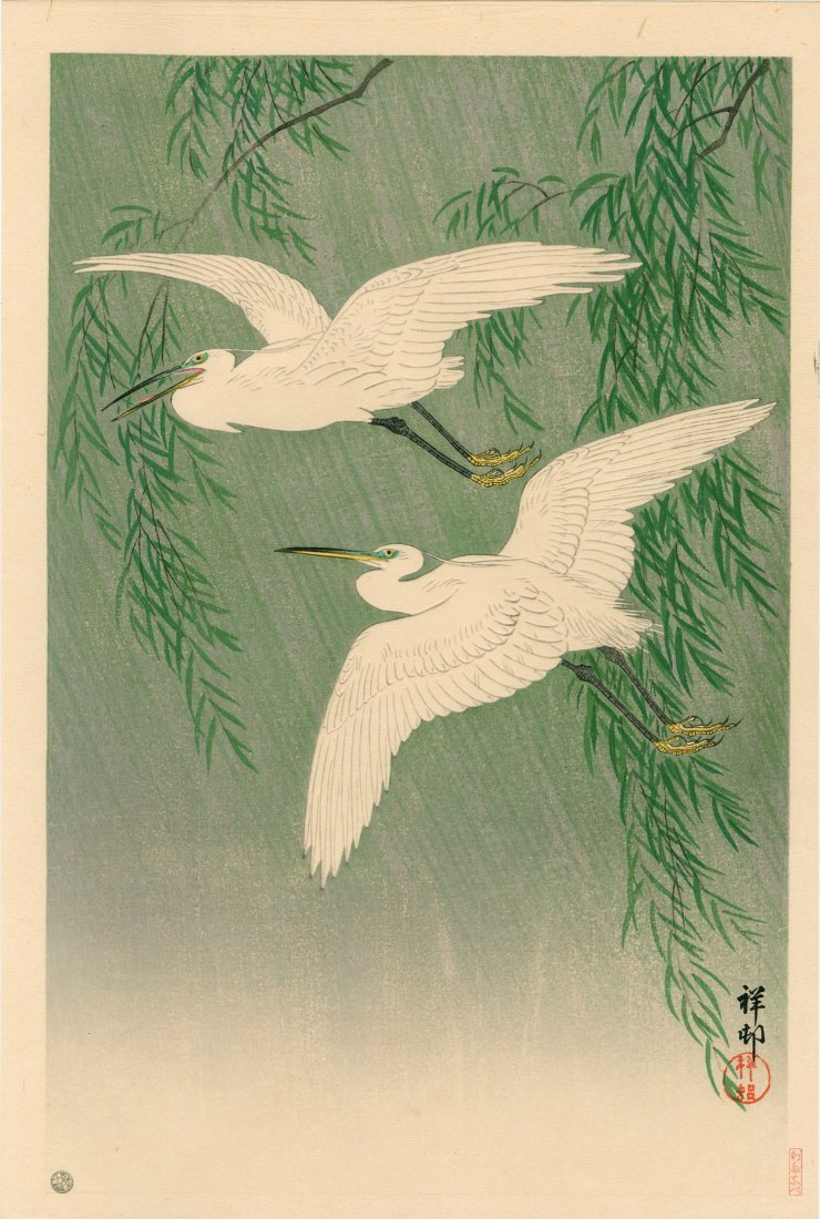 Ohara Koson: Egrets in Rain Near Willow Trees