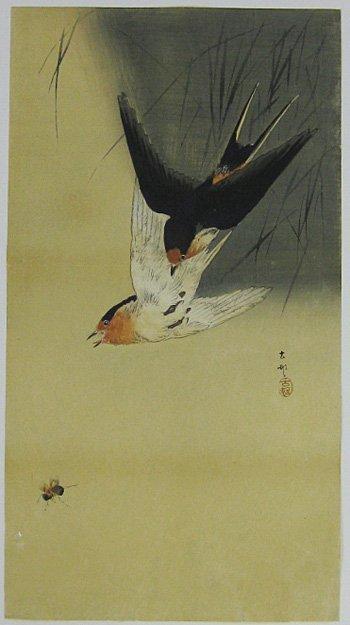 Ohara Koson: Two Barn Swallows Pursuing a Bee, 1910