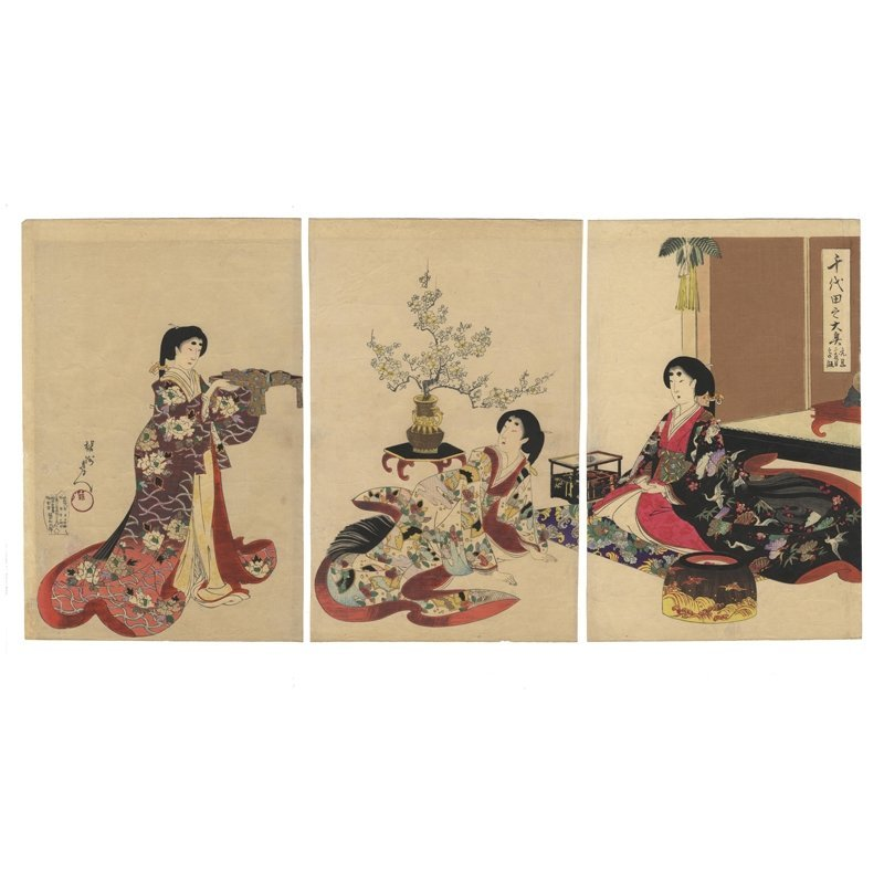 Toyohara Chikanobu: New Year's Celebration
