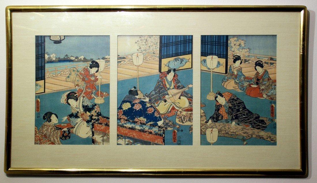 Utagawa Kunisada: Prince Genji Triptych 1852