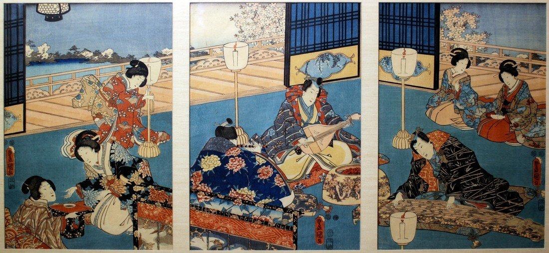 Utagawa Kunisada: Prince Genji Triptych 1852 - 2