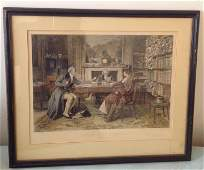 W Dendy Sadler Victorian Couple Etched Engraving
