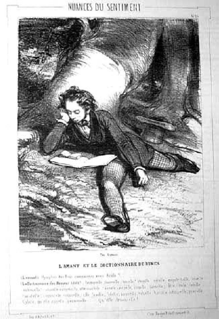 Gavarni: L'amant et le dictionnaire, Lithograph, 1839