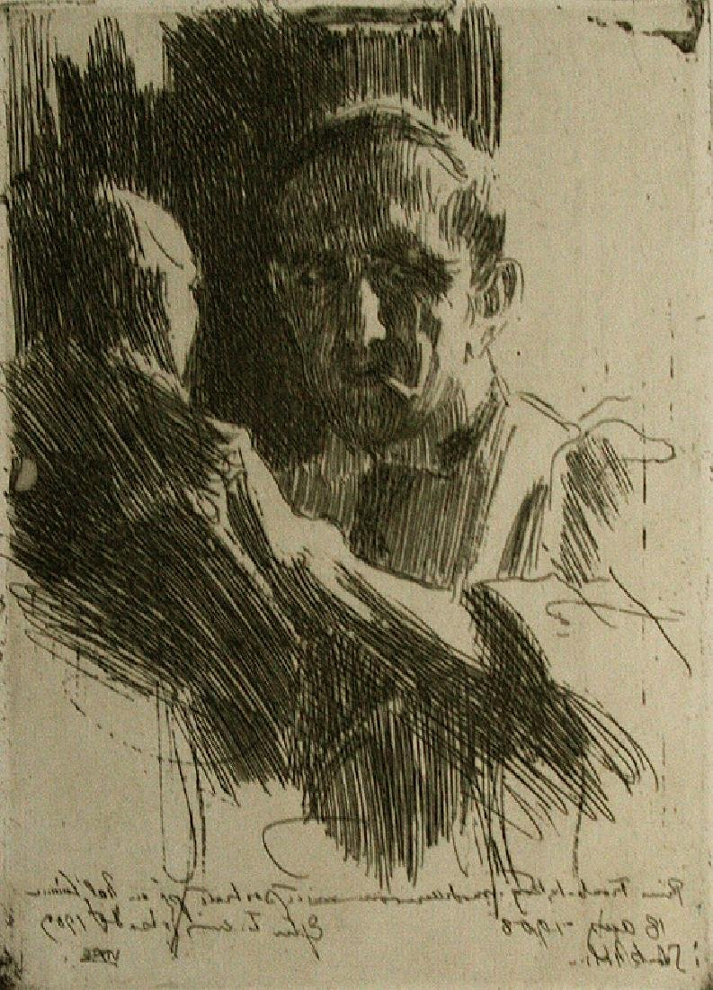 Anders Zorn: Prince Paul Troubetzkoy II, Etching, 1909