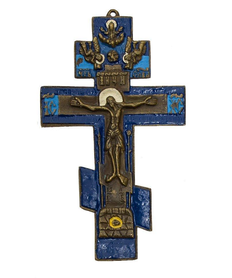 Russian Bronze Enamel Icon Cross, 19th Century
