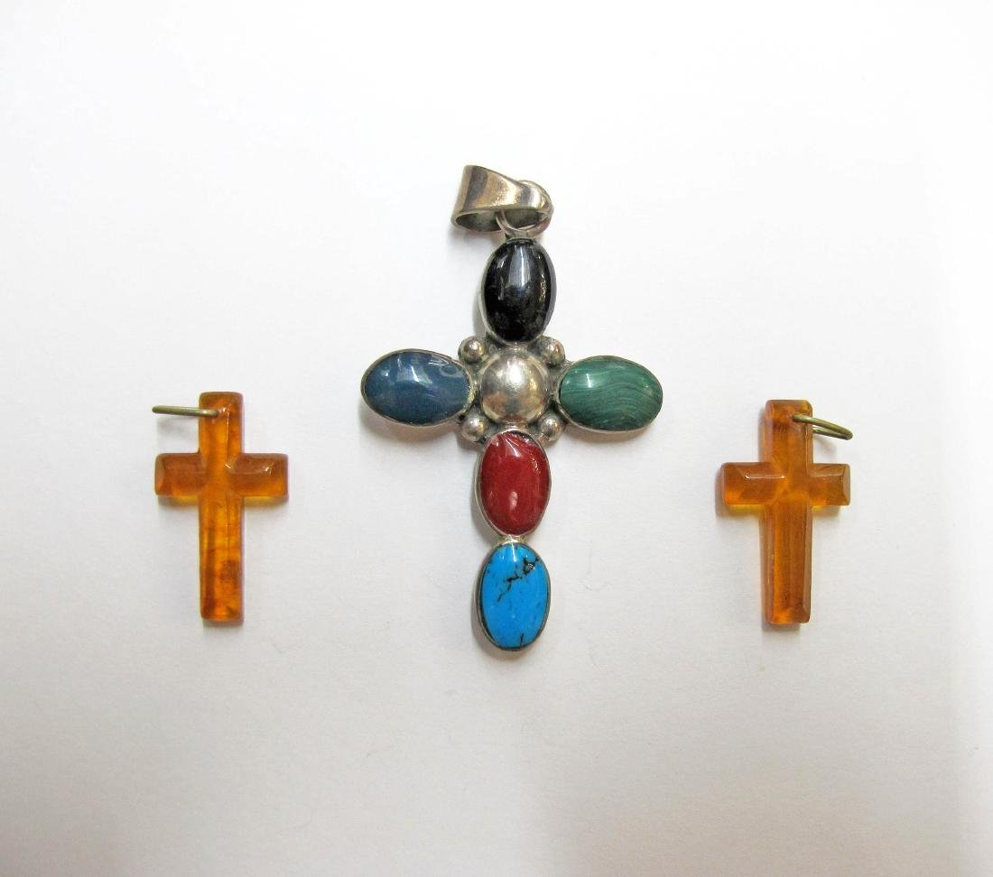 Lot of 3 Silver & Amber Crosses