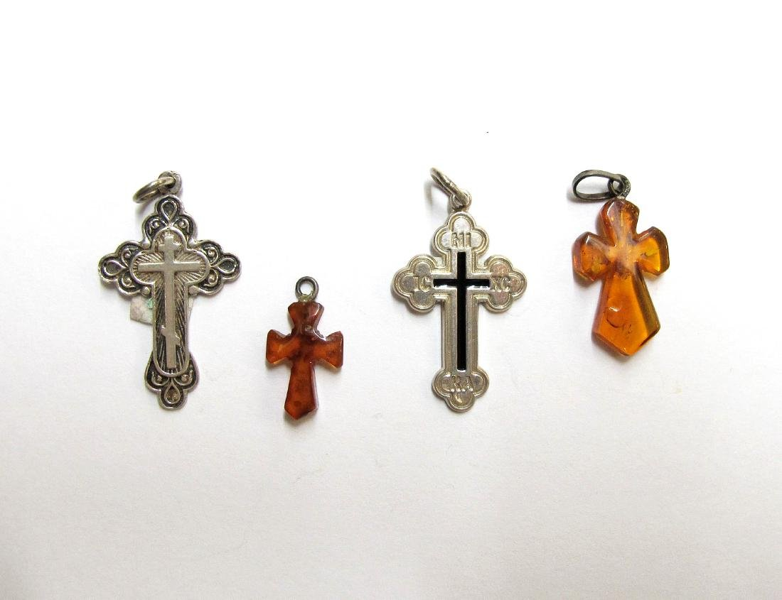 Lot of 4 Silver & Amber Russian Crosses