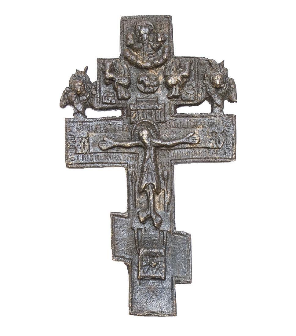Russian Bronze Icon Cross, 19th Century