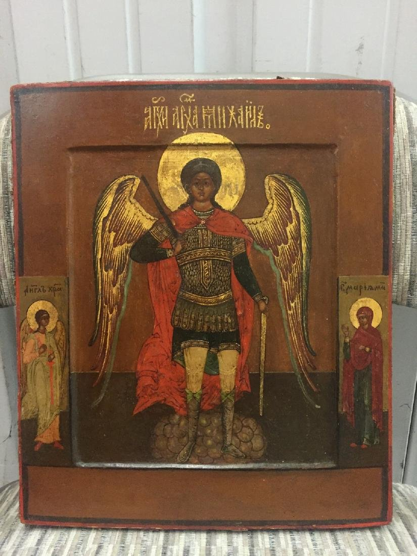 Archangel Michael Gilt Gold Russian Icon, 19th Cent