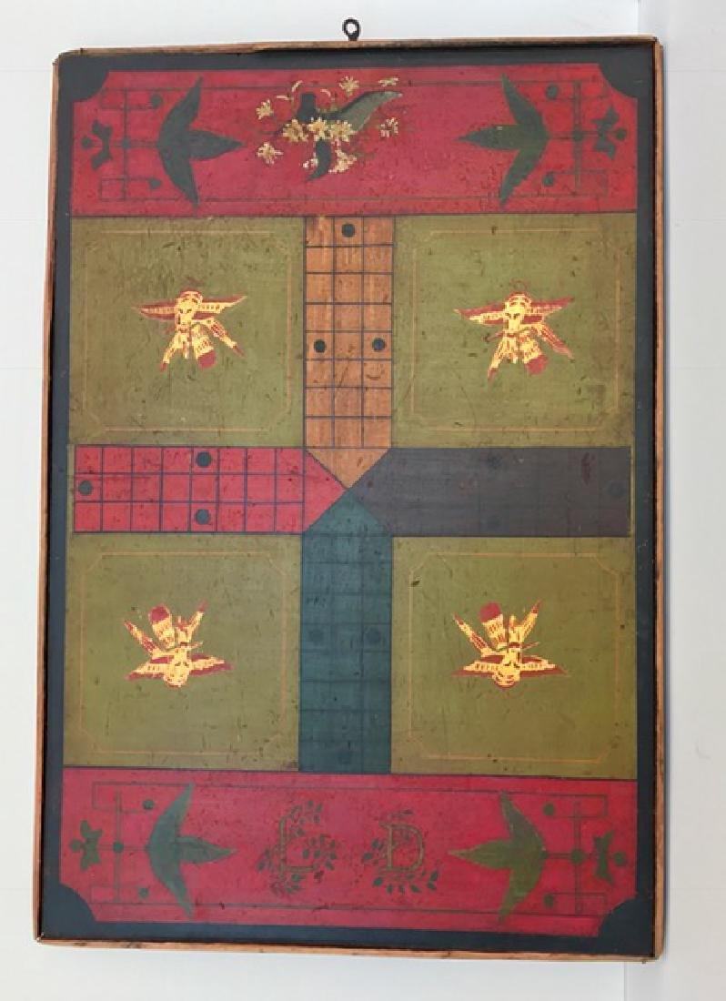 Polychrome Game Board on Wood, c 1880