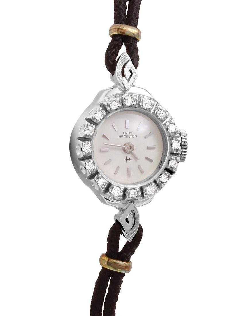 Hamilton Ladies Diamond 14K White Gold Silk Watch