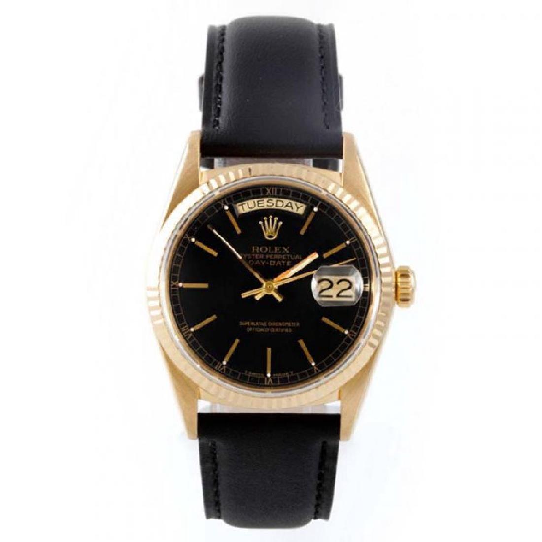 Rolex Men's 18K President Black Dial Watch