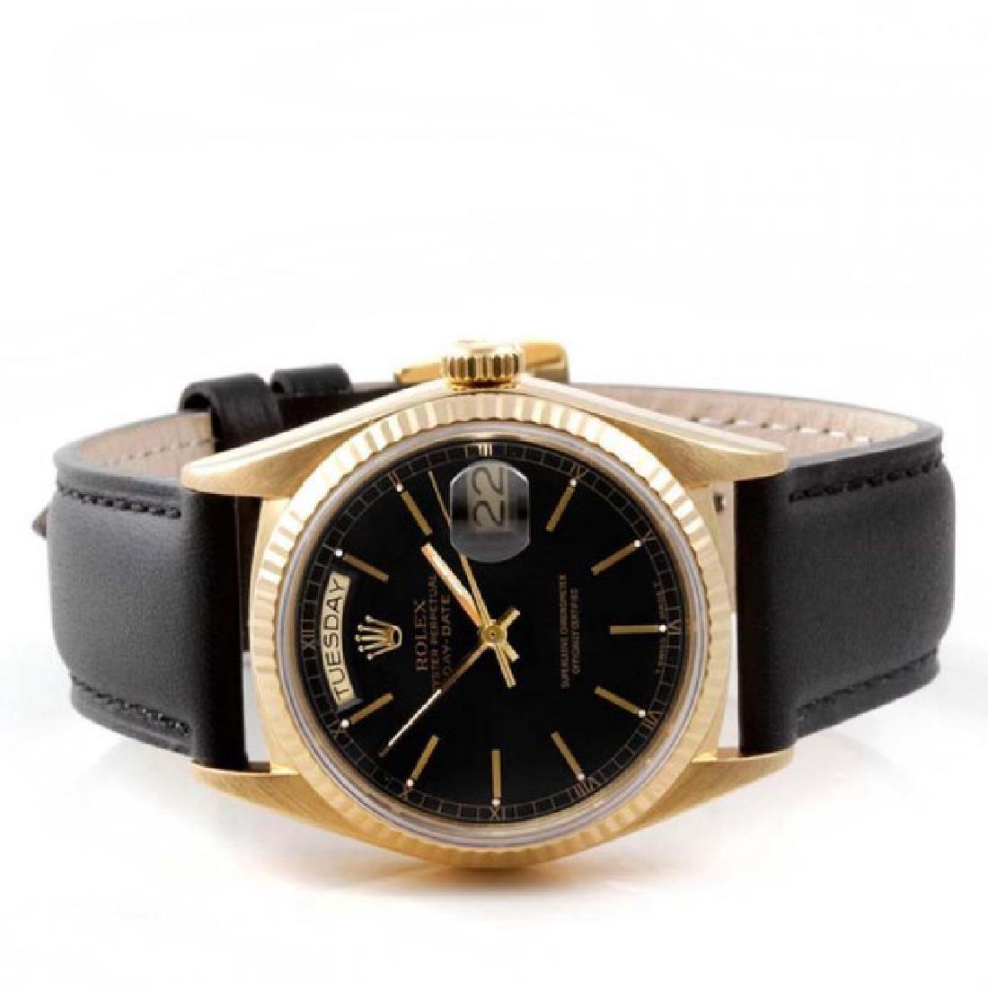 Rolex Men's 18K President Black Dial Watch - 2