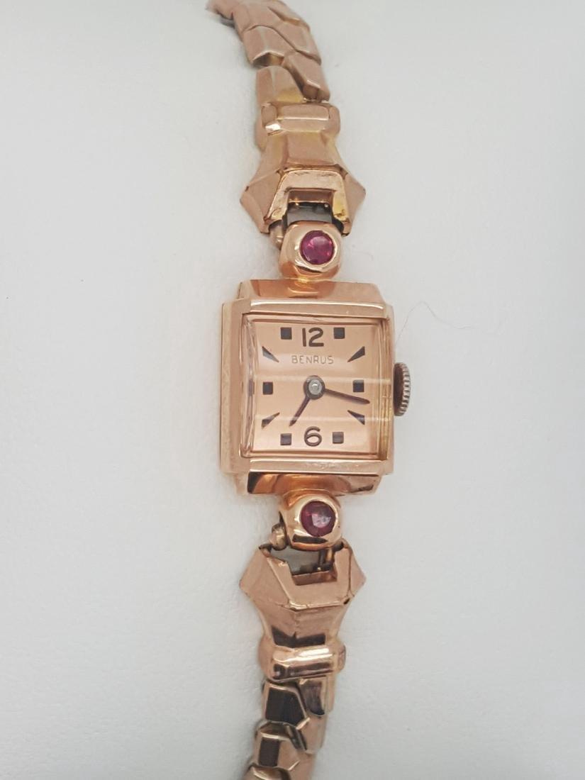 Vintage Benrus 14K Rose Gold Ladies Art Deco Watch - 3