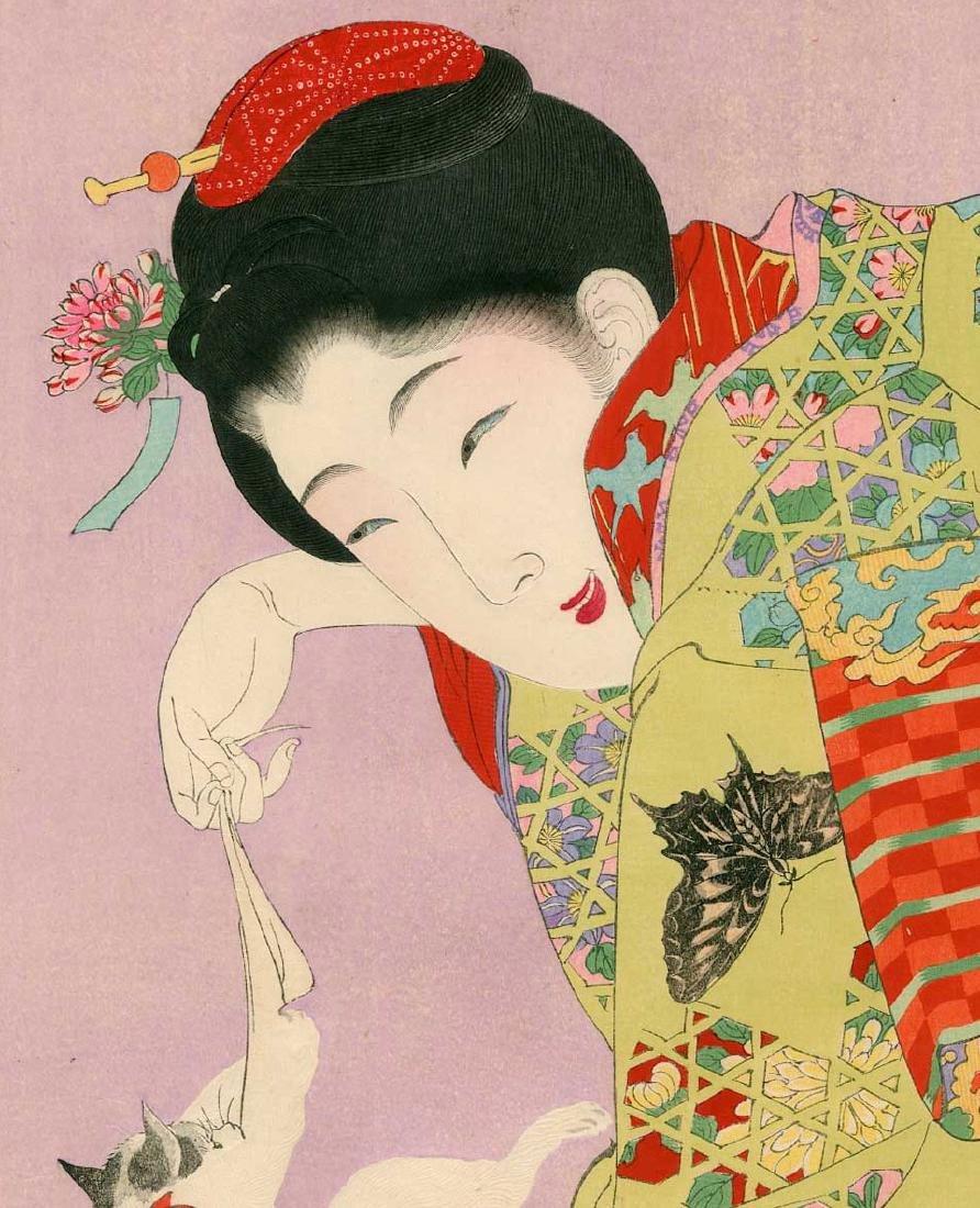 Chikanobu Toyohara: Girl Playing with a Cat - 2