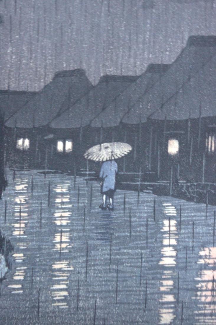 Hasui Kawase: Rainy Night in Maekawa - 3