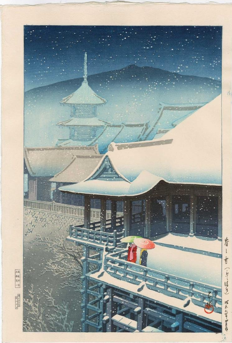 Hasui Kawase: Spring Snow at Kiyomizu, Kyoto
