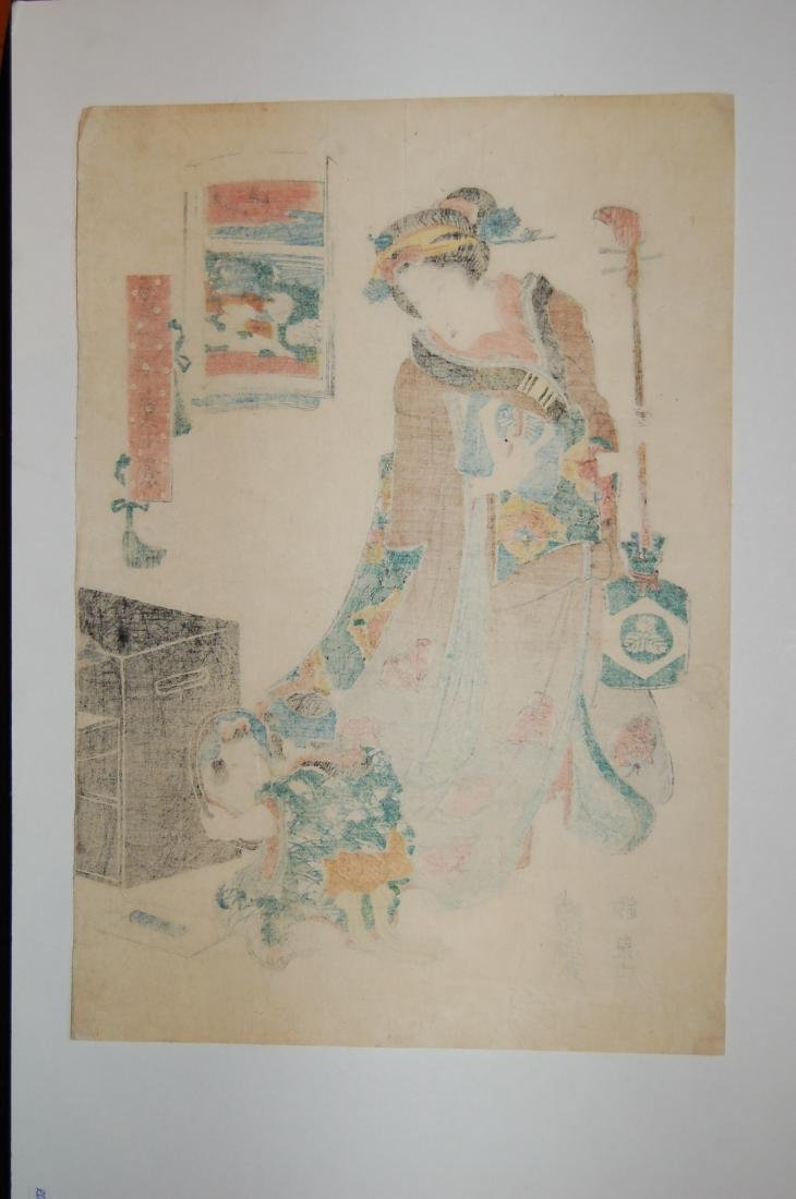 Keisai Eisen: Geisha with Young Child with Mirror - 3