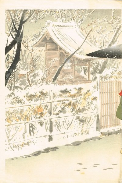 Ogata Gekko: Beauties in a Snowy Temple Garden Triptych - 2