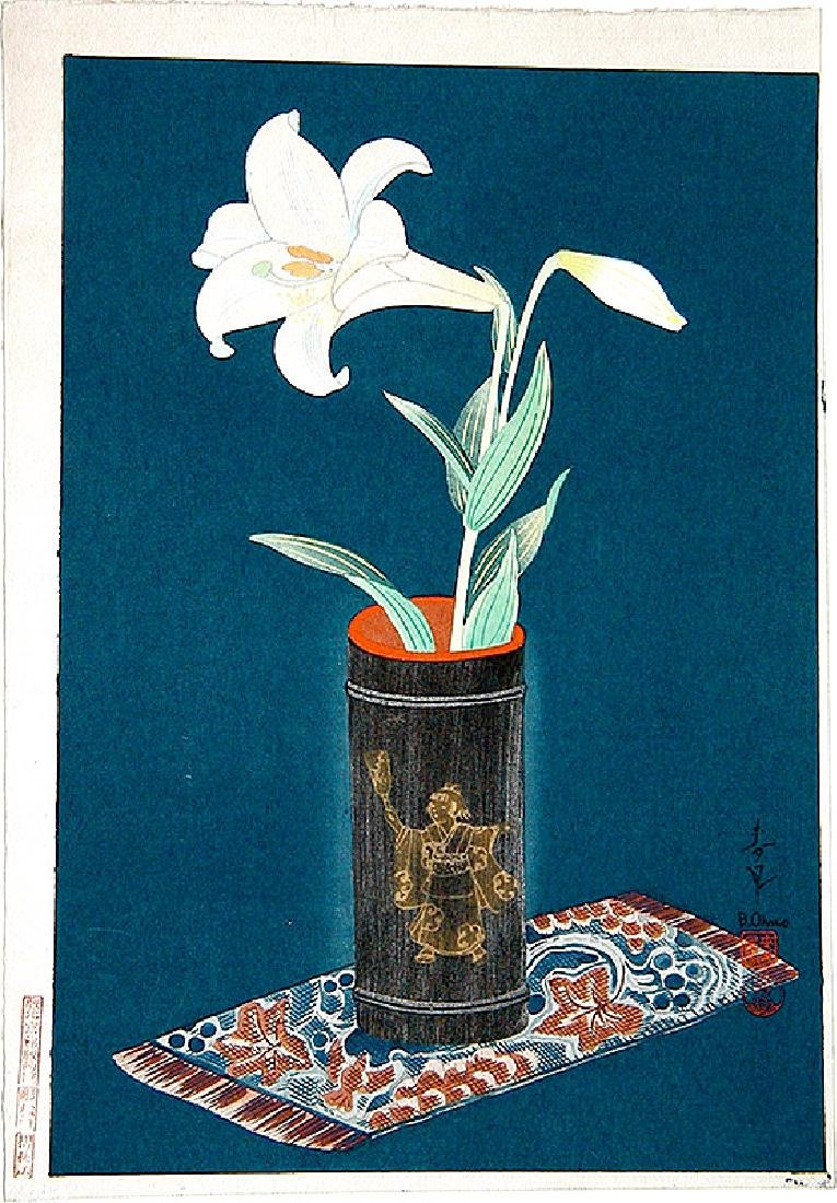 Ohno Bakufu: Lily in a Bamboo Vase