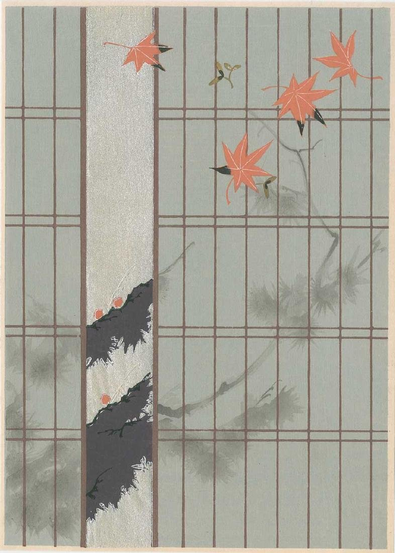 Ueno Tameji: Shoji Door and Maple Leaves