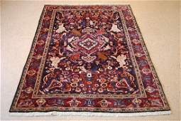 Antique Animal Subjects Persian Bijar Rug 4.3x6.5