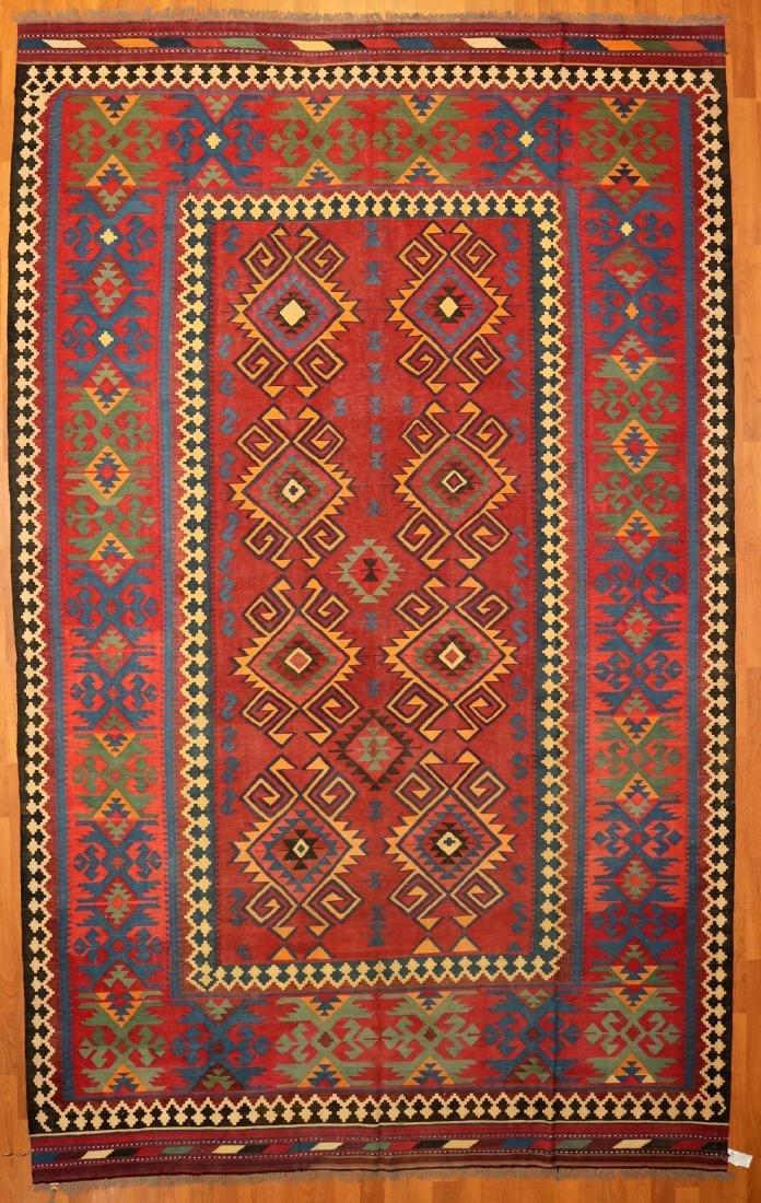 Turkmen Kilim Wool Rug 10x15
