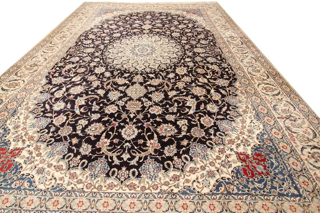 Rare Persian Fine Wool & Silk Nain Rug 12x18
