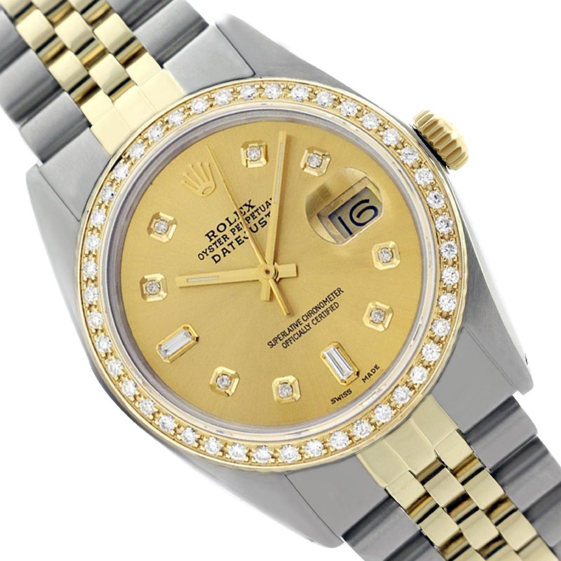 Rolex Two Tone QuickSet 14K Gold Steel Diamond Watch