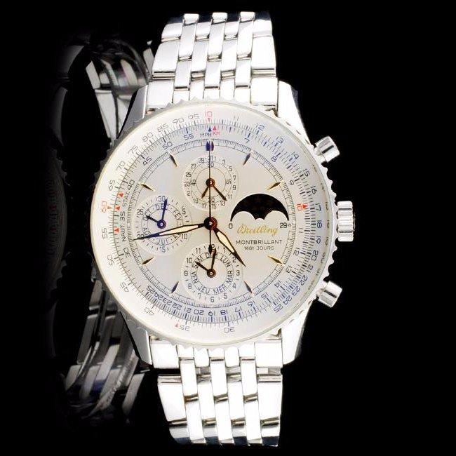 Breitling Steel Montbrilliant Moonphase Wristwatch