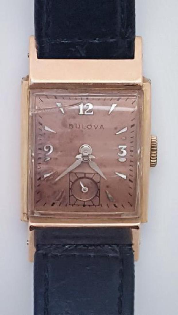 Vintage Bulova 14K Rose Gold Filled Men's Watch