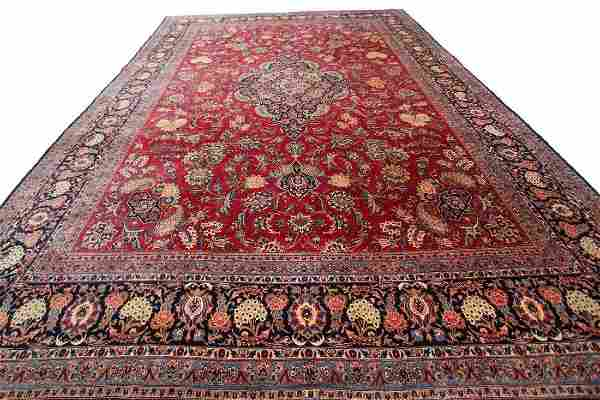 Persian Kashan Signed Cranberry Red Oriental Rug 11x14
