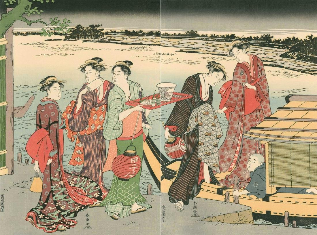 Katsukawa Shuncho: Pleasure Boat on a Summer Evening