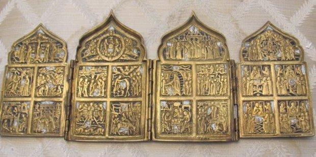 Antique Russian Bronze Triptich