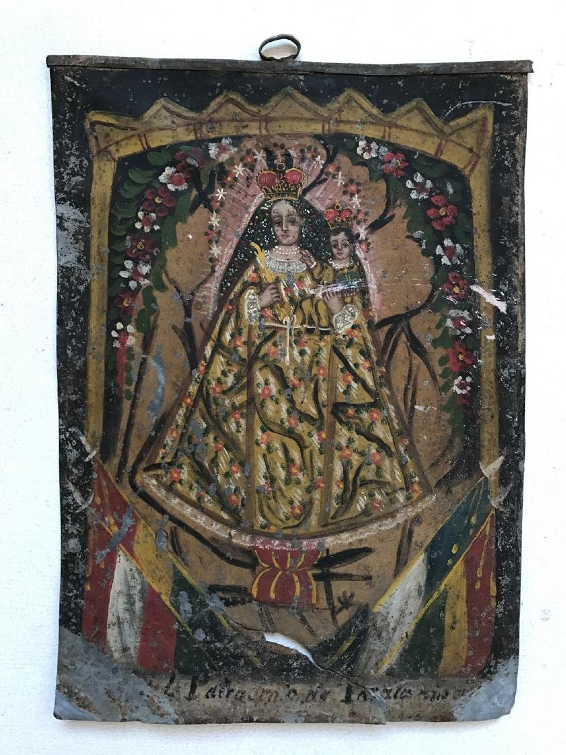 Madonna with Child Peruvian Icon, 19th C