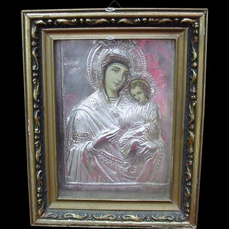 Holy Mother and Child Icon with Silver Oklad