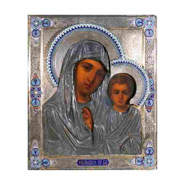 Antique Russian Our Lady of Kazan Icon 1840-70