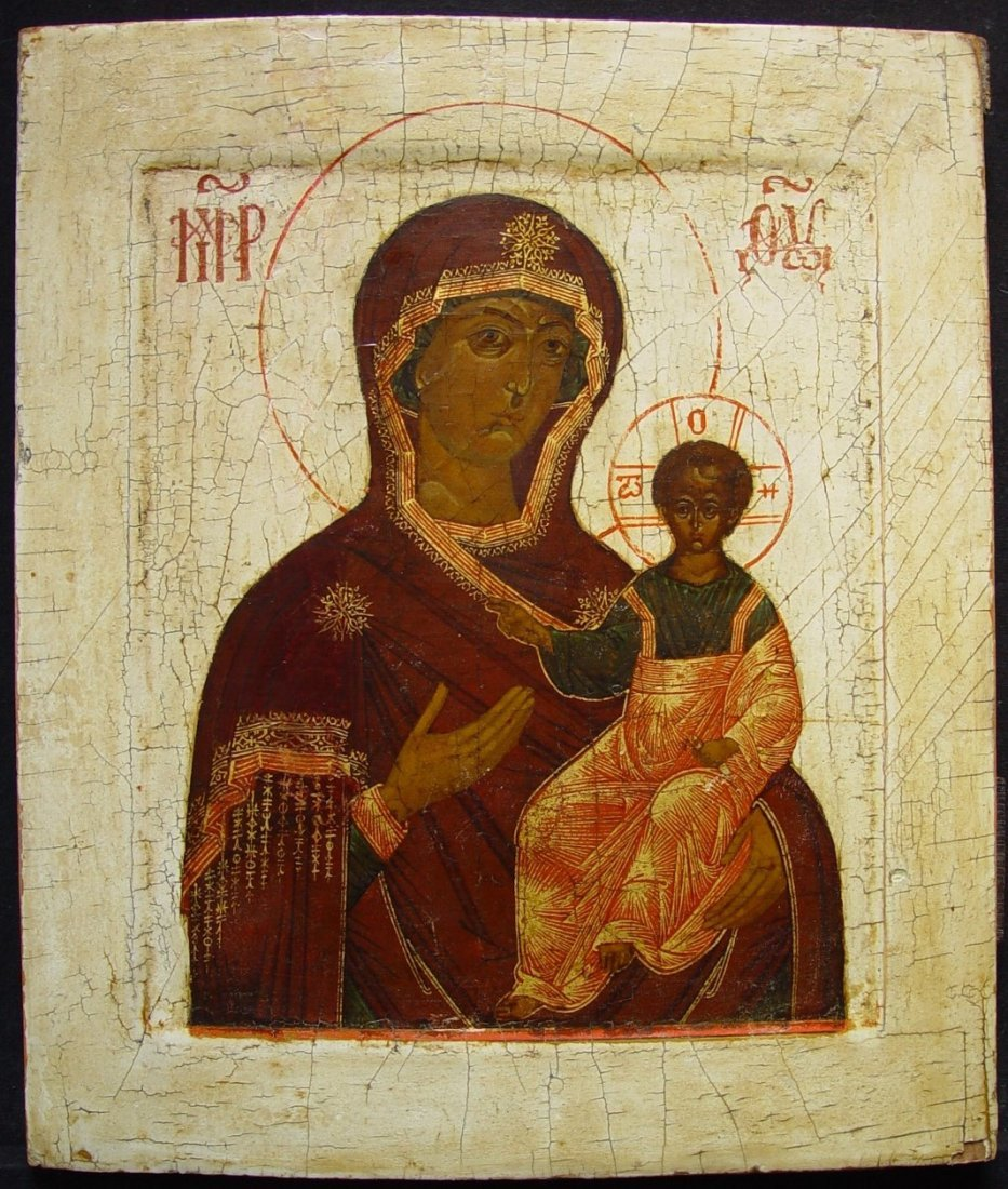 Mother of Smolenskaja Russian Icon, 18th C