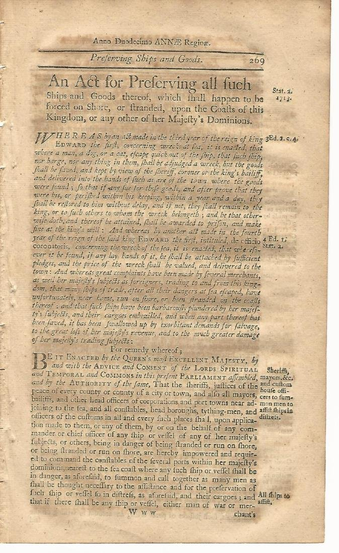 Colonial Act Stranded Ships & Goods, 1771