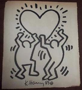 Keith Haring: Two Dancing Men With Heart - Signed