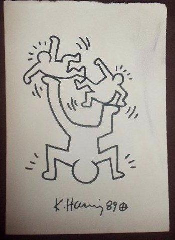 Keith Haring: 3 Juggling Men - Signed