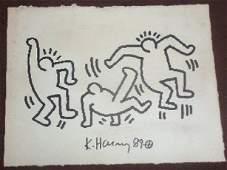 Keith Haring: 3 Dancing Men - Signed